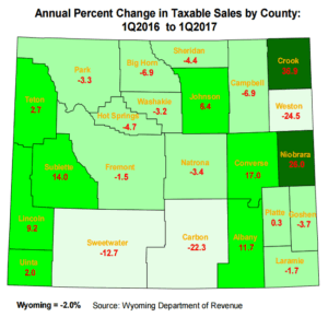 annual percent change in taxable sales by county map