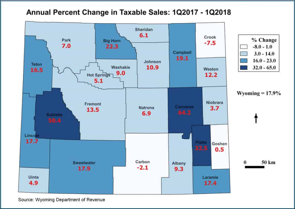 annual percent change in taxable sales map