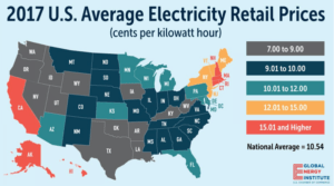 2017 us average electricity retail prices map