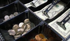 money in cash drawer